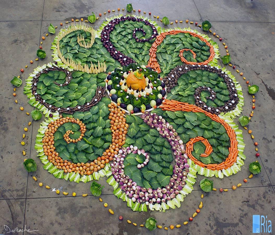 Mandala géant au légumes de saison, production locale